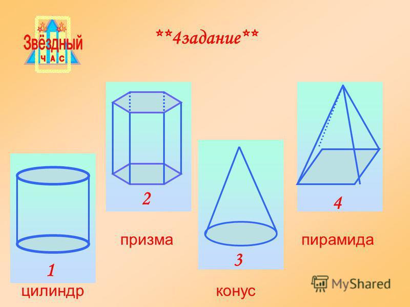 1 **4 задание** 2 3 4 цилиндр призма конус пирамида