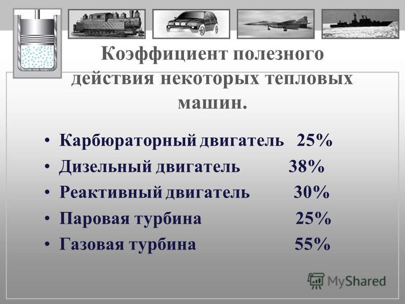 Коэффициент полезного действия некоторых тепловых машин. Карбюраторный двигатель 25% Дизельный двигатель 38% Реактивный двигатель 30% Паровая турбина 25% Газовая турбина 55%