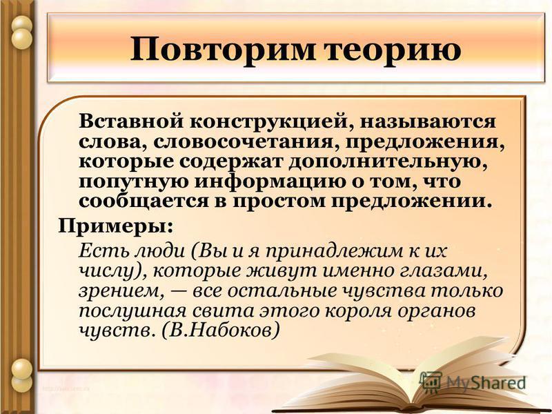 Повторим теорию Вставной конструкцией, называются слова, словосочетания, предложения, которые содержат дополнительную, попутную информацию о том, что сообщается в простом предложении. Примеры: Есть люди (Вы и я принадлежим к их числу), которые живут