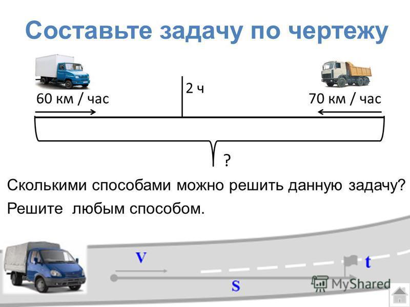 Составьте задачу по чертежу ? 60 км / час 70 км / час 2 ч Сколькими способами можно решить данную задачу? Решите любым способом.