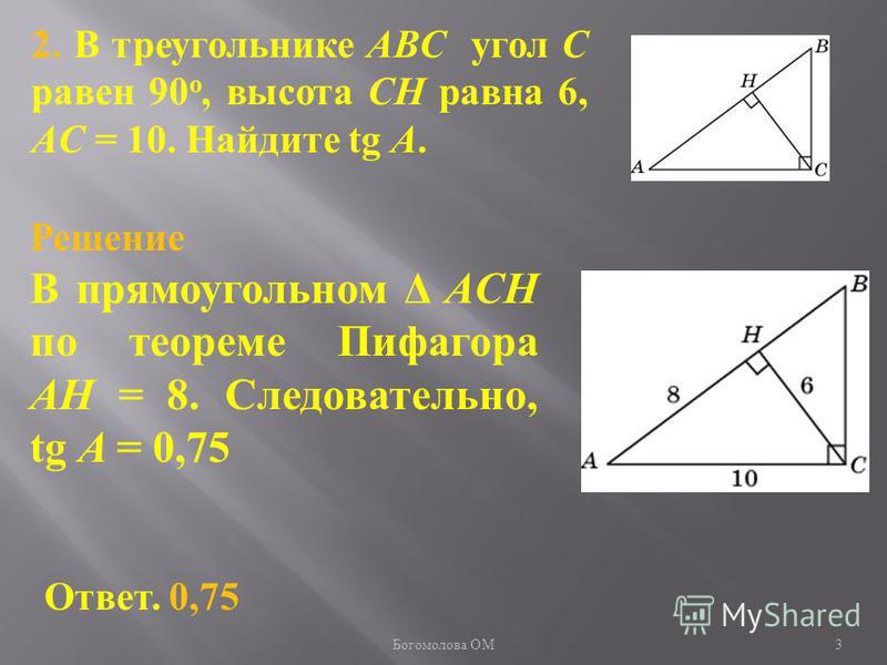 2. В треугольнике ABC угол C равен 90 о, высота CH равна 6, AC = 10. Найдите tg A. Ответ. 0,75 Решение В прямоугольном Δ ACH по теореме Пифагора AH = 8. Следовательно, tg A = 0,75 3 Богомолова ОМ