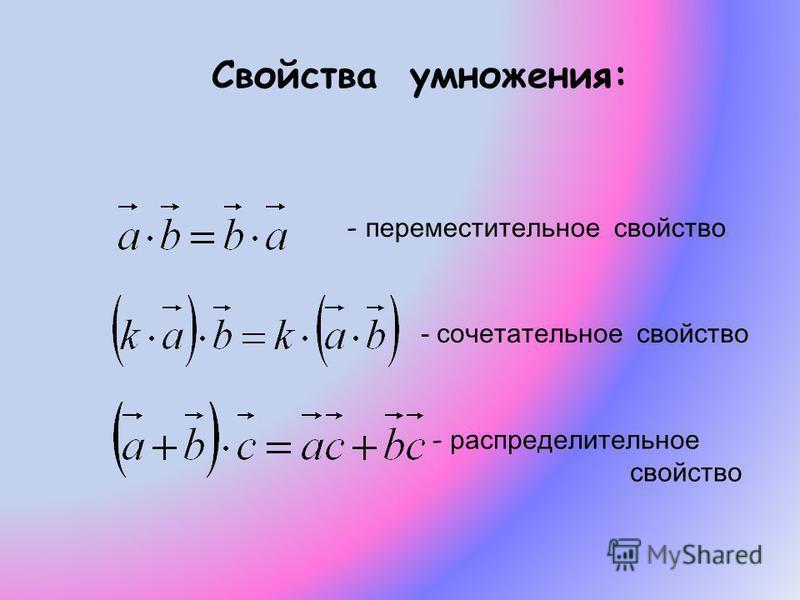 Свойства умножения: - переместительное свойство - сочетательное свойство - р- распределительное свойство