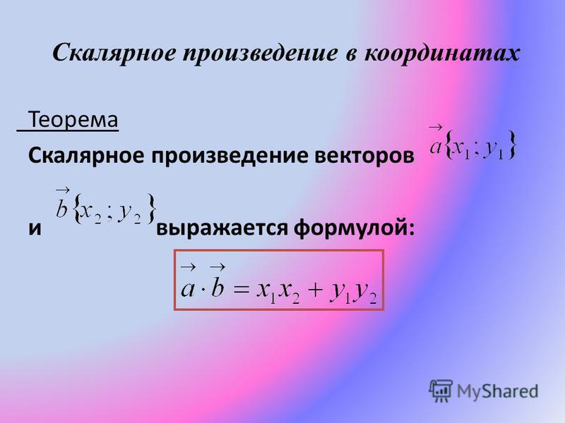 Скалярное произведение в координатах Теорема Скалярное произведение векторов и выражается формулой: