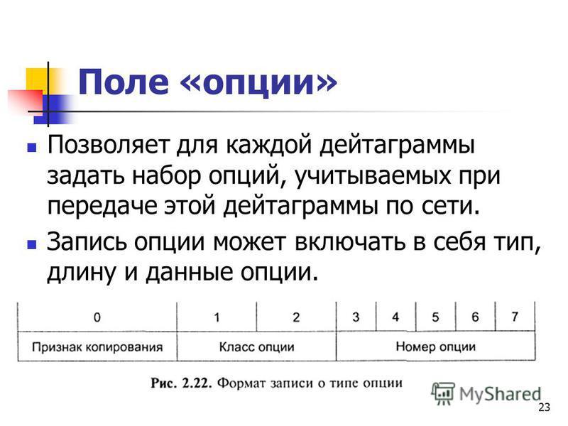 23 Поле «опции» Позволяет для каждой дейтаграммы задать набор опций, учитываемых при передаче этой дейтаграммы по сети. Запись опции может включать в себя тип, длину и данные опции.
