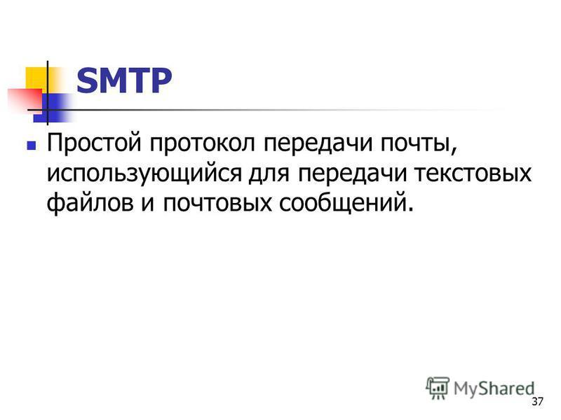 37 SMTP Простой протокол передачи почты, использующийся для передачи текстовых файлов и почтовых сообщений.