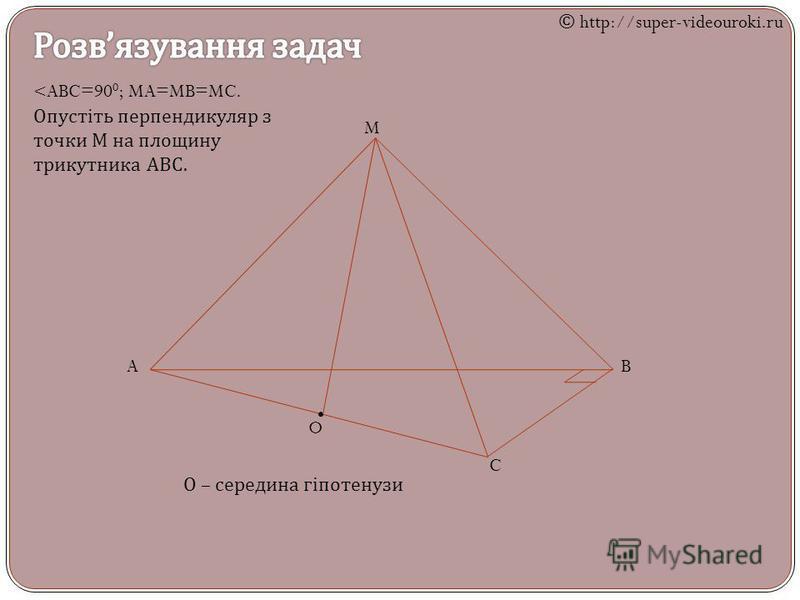 M AB C <ABC=90 0 ; MA=MB=MC. Опустіть перпендикуляр з точки М на площину трикутника АВС. O О – середина гіпотенузи © http://super-videouroki.ru
