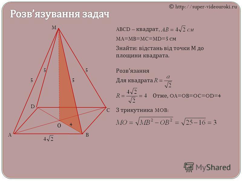M AB C D О 5 5 55 ABCD – квадрат, MA=MB=MC=MD=5 см Знайти : відстань від точки М до площини квадрата. Розв язання Для квадрата Отже, OA=OB=OC=OD=4 З трикутника MOB: 4 © http://super-videouroki.ru