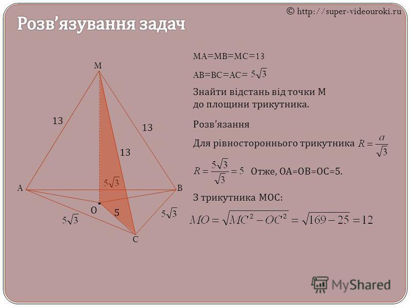 M AB C MA=MB=MC=13 AB=BC=AC= Знайти відстань від точки М до площини трикутника. Розв язання О Для рівностороннього трикутника Отже, ОА = ОВ = ОС =5. 13 5 З трикутника МОС : © http://super-videouroki.ru