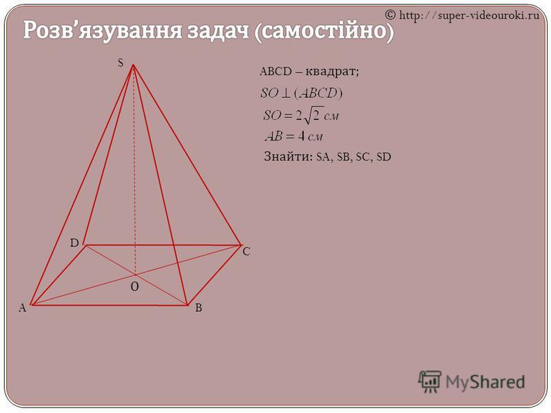 S AB C D О ABCD – квадрат ; Знайти : SA, SB, SC, SD © http://super-videouroki.ru