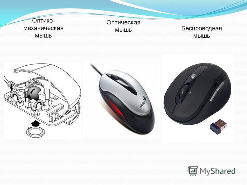 Оптико- механическая мышь Оптическая мышь Беспроводная мышь