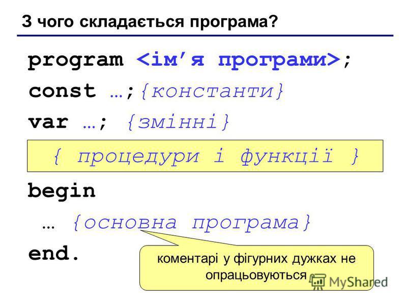 З чого складається програма? program ; const …;{константи} var …; {змінні} begin … {основна програма} end. { процедури і функції } коментарі у фігурних дужках не опрацьовуються