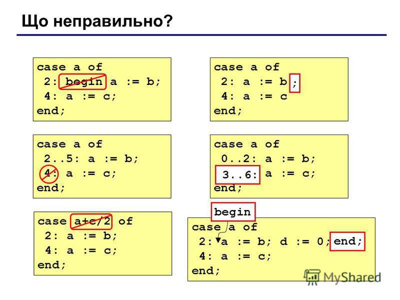 Що неправильно? case a of 2: begin a := b; 4: a := c; end; case a of 2: a := b 4: a := c end; ; case a of 2..5: a := b; 4: a := c; end; case a of 0..2: a := b; 6..3: a := c; end; 3..6: case a+c/2 of 2: a := b; 4: a := c; end; case a of 2: a := b; d :