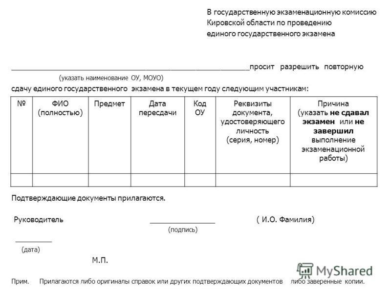 В государственную экзаменационную комиссию Кировской области по проведению единого государственного экзамена __________________________________________________________просит разрешить повторную (указать наименование ОУ, МОУО) сдачу единого государств