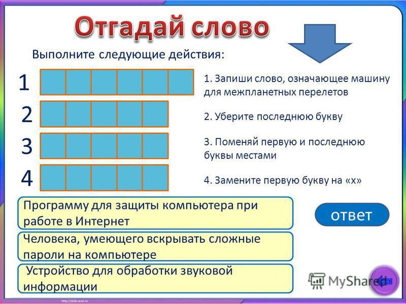 Выполните следующие действия: х 2 3 4 2. Уберите последнюю букву 3. Поменяй первую и последнюю буквы местами 4. Замените первую букву на «х» 1 Программу для защиты компьютера при работе в Интернет Человека, умеющего вскрывать сложные пароли на компью