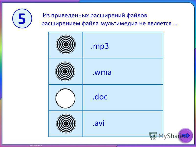 Из приведенных расширений файлов расширением файла мультимедиа не является ….mp3.doc.wma.avi 5