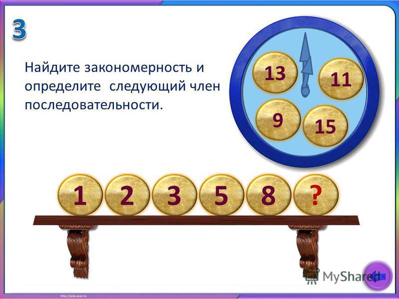 123?58 Найдите закономерность и определите следующий член последовательности. 11 15 9 13