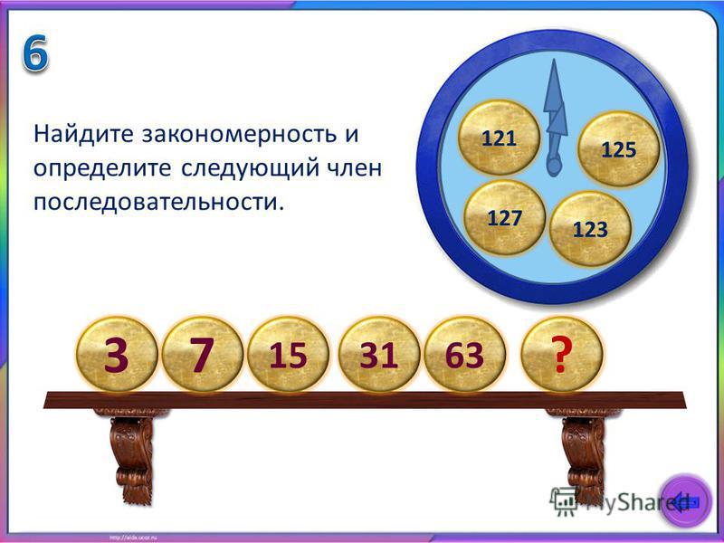 Найдите закономерность и определите следующий член последовательности. 125 123 121 37 15 ? 3163 127