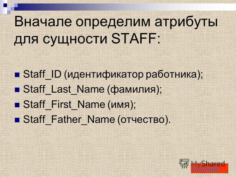 34 Вначале определим атрибуты для сущности STAFF: Staff_ID (идентификатор работника); Staff_Last_Name (фамилия); Staff_First_Name (имя); Staff_Father_Name (отчество). В начало