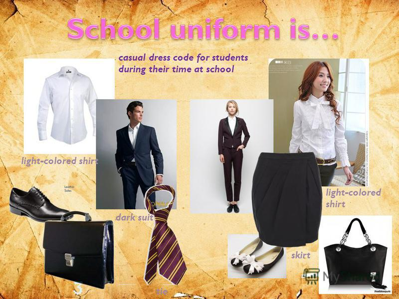 casual dress code for students during their time at school dark suit light-colored shirt tie light-colored shirt skirt
