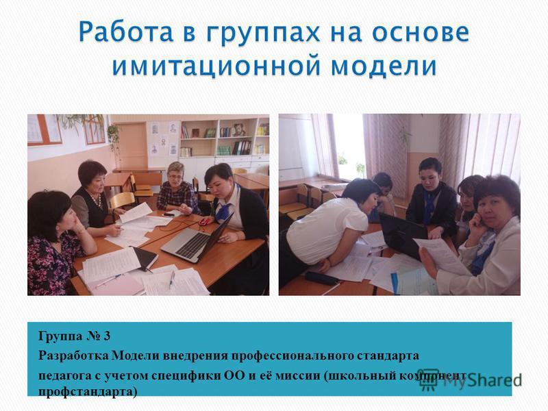 Группа 3 Разработка Модели внедрения профессионального стандарта педагога с учетом специфики ОО и её миссии (школьный компонент проф стандарта)