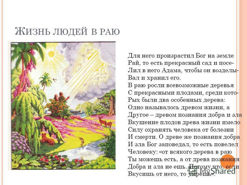 Ж ИЗНЬ ЛЮДЕЙ В РАЮ Для него произрастил Бог на земле Рай, то есть прекрасный сад и после- Лил в него Адама, чтобы он возделы- Вал и хранил его. В раю росли всевозможные деревья С прекрасными плодами, среди кото- Рых были два особенных дерева: Одно на