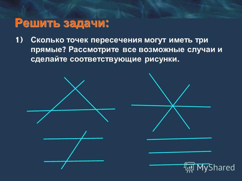 Решить задачи : 1) Сколько точек пересечения могут иметь три прямые ? Рассмотрите все возможные случаи и сделайте соответствующие рисунки.