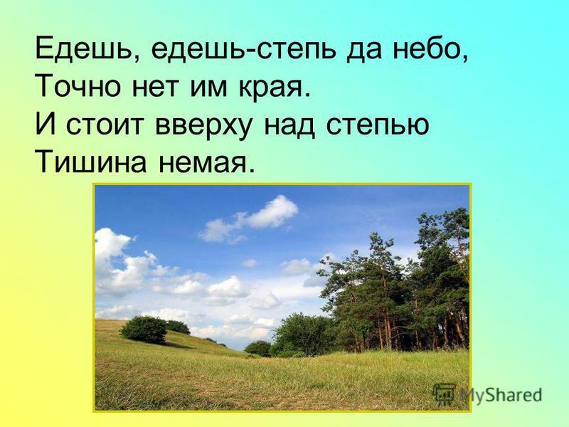 Едешь, едешь-степь да небо, Точно нет им края. И стоит вверху над степью Тишина немая.