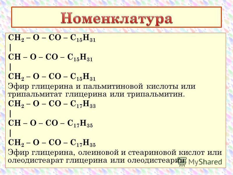 CH 2 – O – CO – С 15 Н 31 | CH – O – CO – С 15 Н 31 | CH 2 – O – CO – С 15 Н 31 Эфир глицерина и пальмитиновой кислоты или трипальмитат глицерина или трипальмитин. CH 2 – O – CO – С 17 Н 33 | CH – O – CO – С 17 Н 35 | CH 2 – O – CO – С 17 Н 35 Эфир г