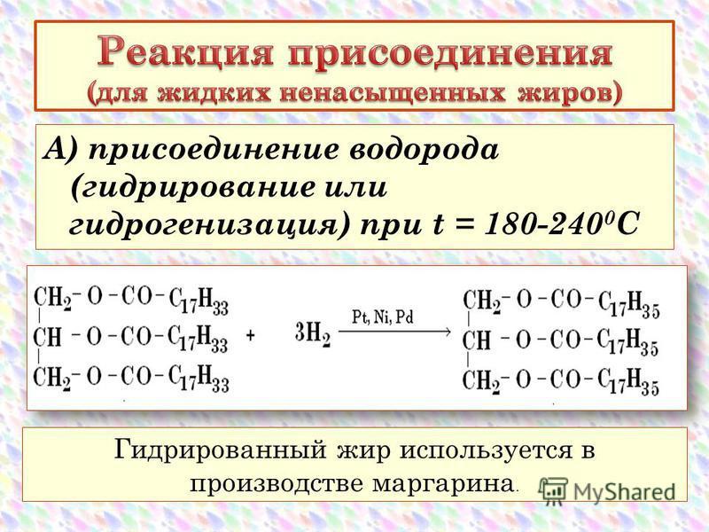 А) присоединение водорода (гидрирование или гидрогенизация) при t = 180-240 0 С Гидрированный жир используется в производстве маргарина.