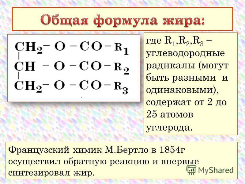 Французский химик М.Бертло в 1854 г осуществил обратную реакцию и впервые синтезировал жир. где R 1,R 2,R 3 – углеводородные радикалы (могут быть разными и одинаковыми), содержат от 2 до 25 атомов углерода.