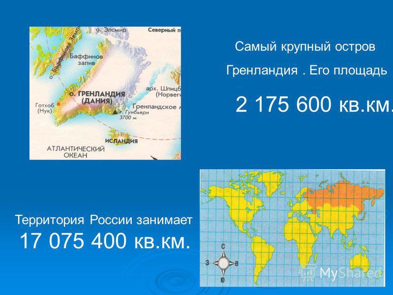 Самый крупный остров Гренландия. Его площадь 2 175 600 кв.км. Территория России занимает 17 075 400 кв.км.