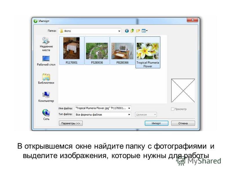 В открывшемся окне найдите папку с фотографиями и выделите изображения, которые нужны для работы
