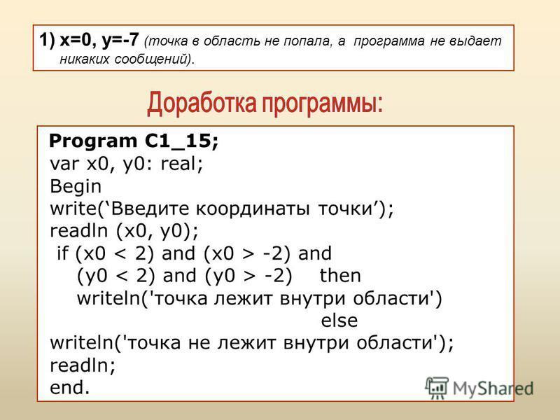 1)x=0, y=-7 (точка в область не попала, а программа не выдает никаких сообщений). Program C1_15; var x0, y0: real; Begin write(Введите координаты точки); readln (x0, y0); if (x0 -2) and (y0 -2) then writeln('точка лежит внутри области') else writeln(
