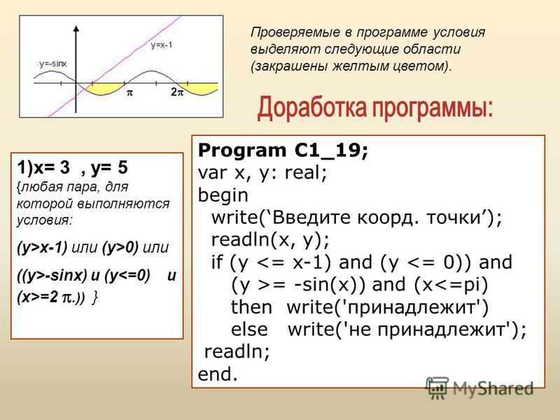 1)x= 3, y= 5 {любая пара, для которой выполняются условия: (y>x-1) или (y>0) или ((y>-sinx) и (y =2.)) } Program C1_19; var x, y: real; begin write(Введите коорд. точки); readln(x, y); if (y <= x-1) and (y <= 0)) and (y >= -sin(x)) and (x<=pi) then w