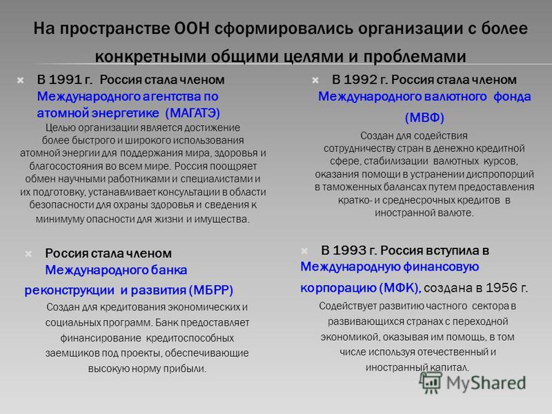 На пространстве ООН сформировались организации с более конкретными общими целями и проблемами В 1991 г. Россия стала членом Международного агентства по атомной энергетике (МАГАТЭ) Целью организации является достижение более быстрого и широкого исполь