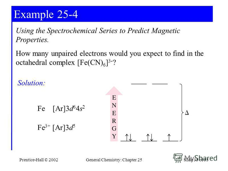 Prentice-Hall © 2002General Chemistry: Chapter 25Slide 35 of 55 Example 25-4 Using the Spectrochemical Series to Predict Magnetic Properties. How many unpaired electrons would you expect to find in the octahedral complex [Fe(CN) 6 ] 3- ? Solution: Fe