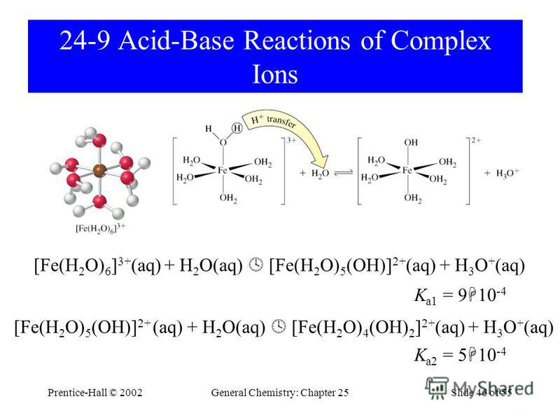 Prentice-Hall © 2002General Chemistry: Chapter 25Slide 46 of 55 24-9 Acid-Base Reactions of Complex Ions [Fe(H 2 O) 6 ] 3+ (aq) + H 2 O(aq) [Fe(H 2 O) 5 (OH)] 2+ (aq) + H 3 O + (aq) K a1 = 9 10 -4 [Fe(H 2 O) 5 (OH)] 2+ (aq) + H 2 O(aq) [Fe(H 2 O) 4 (