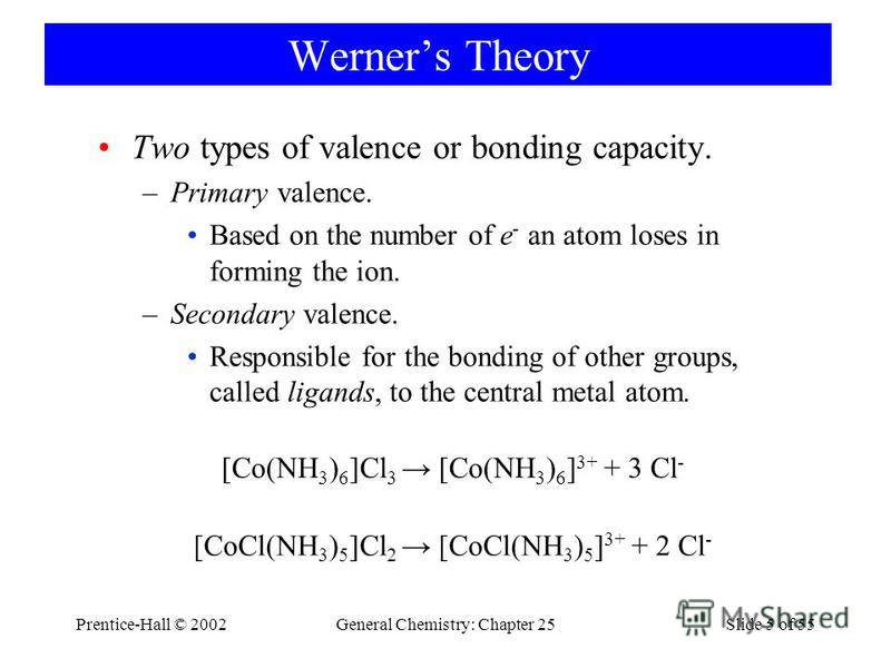 Prentice-Hall © 2002General Chemistry: Chapter 25Slide 5 of 55 Werners Theory [Co(NH 3 ) 6 ]Cl 3 [Co(NH 3 ) 6 ] 3+ + 3 Cl - [CoCl(NH 3 ) 5 ]Cl 2 [CoCl(NH 3 ) 5 ] 3+ + 2 Cl - Two types of valence or bonding capacity. –Primary valence. Based on the num