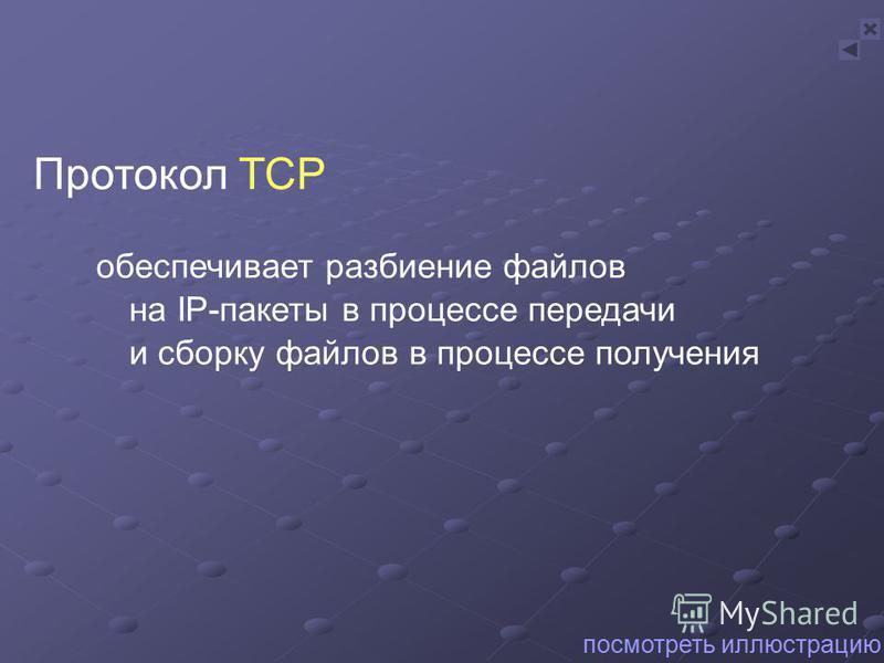 обеспечивает разбиение файлов на IP-пакеты в процессе передачи и сборку файлов в процессе получения Протокол TCP посмотреть иллюстрацию