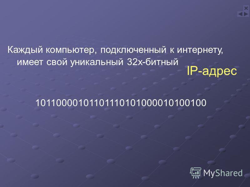 Каждый компьютер, подключенный к интернету, имеет свой уникальный 32 х-битный IP-адрес 10110000101101110101000010100100
