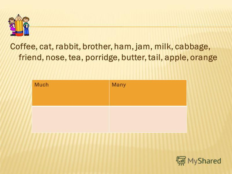 Coffee, cat, rabbit, brother, ham, jam, milk, cabbage, friend, nose, tea, porridge, butter, tail, apple, orange MuchMany