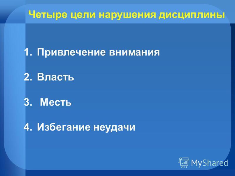 Четыре цели нарушения дисциплины 1. Привлечение внимания 2. Власть 3. Месть 4. Избегание неудачи