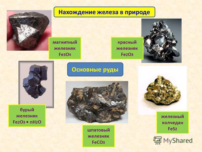 Нахождение железа в природе Основные руды магнитный железняк Fe 3 O 4 красный железняк Fe 2 О 3 железный колчедан FeS 2 бурый железняк Fe 2 О 3 nH 2 O шпатовый железняк FeСО 3