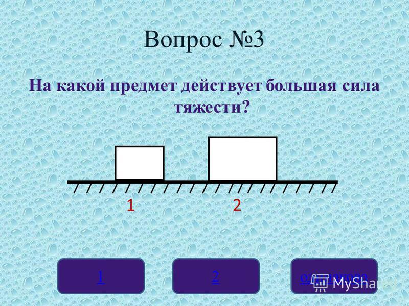 Вопрос 3 На какой предмет действует большая сила тяжести? 12 одинакова 2 кг 5 кг 1 2