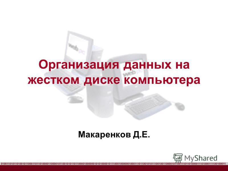 Организация данных на жестком диске компьютера Макаренков Д.Е.