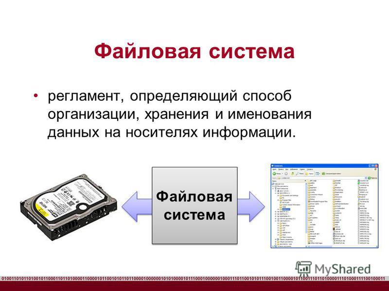 Файловая система регламент, определяющий способ организации, хранения и именования данных на носителях информации. Файловая система