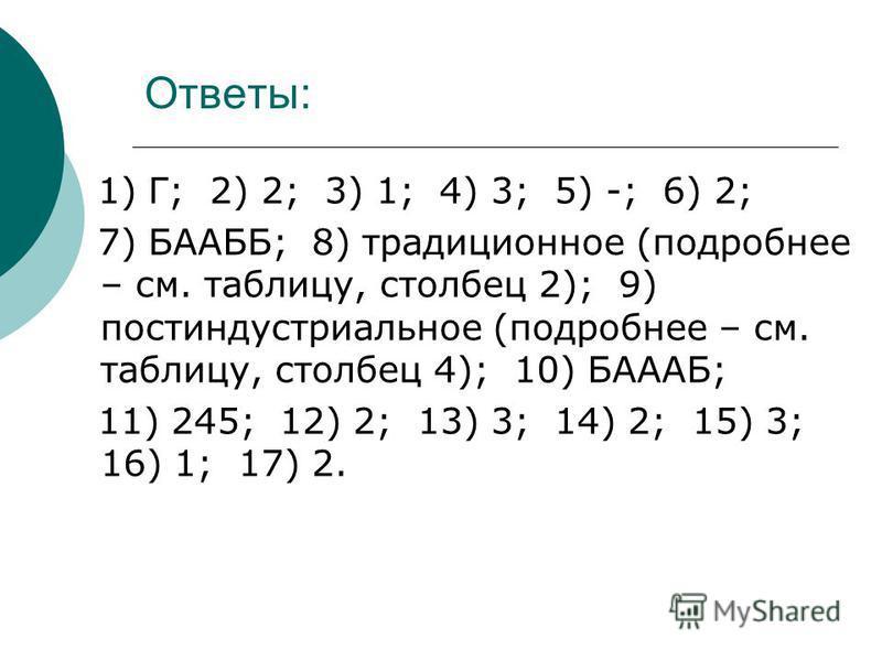 Ответы: 1) Г; 2) 2; 3) 1; 4) 3; 5) -; 6) 2; 7) БААББ; 8) традиционное (подробнее – см. таблицу, столбец 2); 9) постиндустриальное (подробнее – см. таблицу, столбец 4); 10) БАААБ; 11) 245; 12) 2; 13) 3; 14) 2; 15) 3; 16) 1; 17) 2.