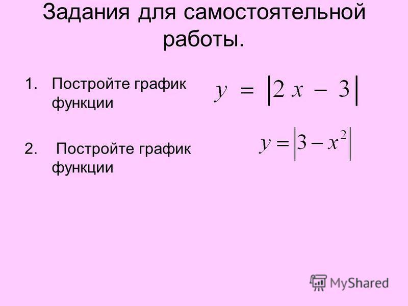 Задания для самостоятельной работы. 1. Постройте график функции 2. Постройте график функции