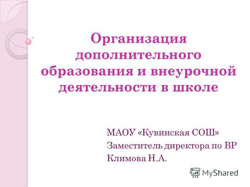 Организация дополнительного образования и внеурочной деятельности в школе МАОУ «Кувинская СОШ» Заместитель директора по ВР Климова Н.А.