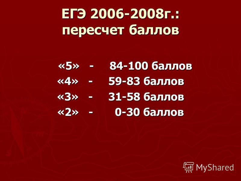 ЕГЭ 2006-2008 г.: пересчет баллов «5» - 84-100 баллов «5» - 84-100 баллов «4» - 59-83 баллов «3» - 31-58 баллов «2» - 0-30 баллов